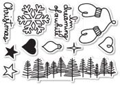 CL442 Dreaming of a White Christmas Clear Stamp Set