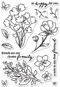 CL444 Friends and Flowers clear stamp set
