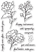 CL447 Peony Stems and Blossoms clear stamp set