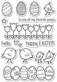 CL463 Easter Chicks clear stamp set
