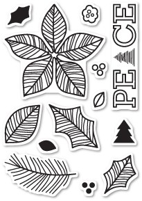 CL440 Poinsettia Peace Clear Stamp Set