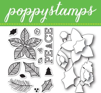 CB440 Poinsettia Peace clear stamp and die set