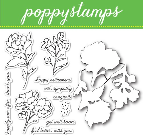CB447 Peony Stems and Blossoms clear stamp and die set