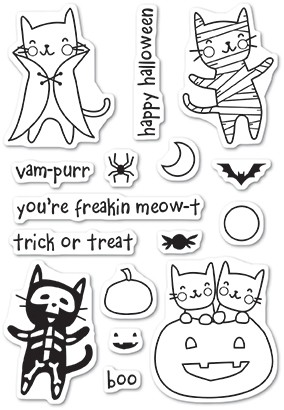 CL461 Halloween Costume Cats clear stamp set