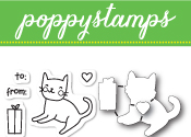 CB437 Kitty Cat Gift clear stamp and die set