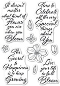 CL482 Blooming Greetings clear stamp set