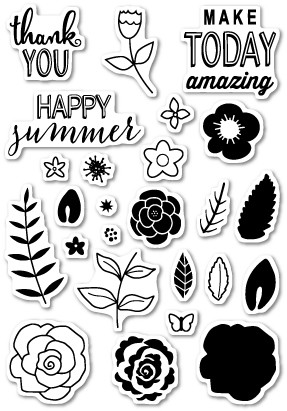 CL428 Flower Patch Clear Stamp Set